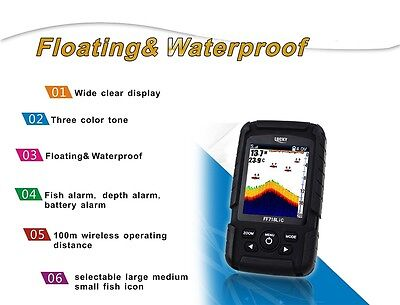 Portable color LCD 2 in 1 wireless/transducer fish finder