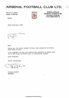 Arsenal Legend George Graham Signature On Arsenal Fc Letterhead - 1988