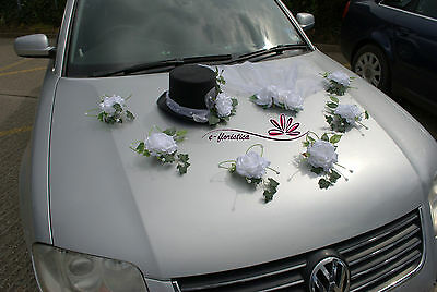 top hat and veil , flower wedding car decoration kit (KRB)