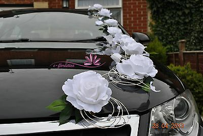 white roses and petals , flower wedding car decoration kit (RB3)