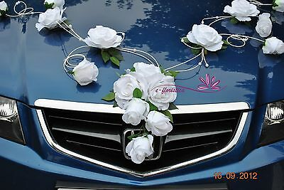 pure white roses with rattan twirl, flower wedding car decoration kit (RB1)
