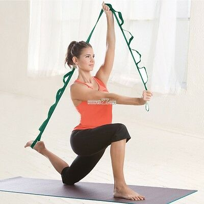 Stretch Out Strap With Exercise Booklet Gym Fitness Yoga Resistance Bands S0BZ