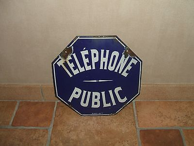 PLAQUE EMAILLEE TELEPHONE PUBLIC émail JAPY
