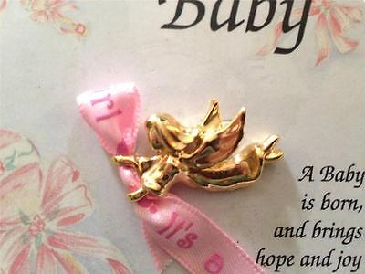 Birth Announcement Pins : IT'S A GIRL GUARDIAN ANGEL PIN NEW