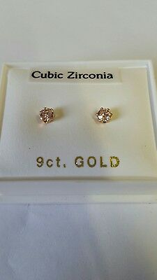New 9ct yellow gold 3mm pink CZ studs boxed