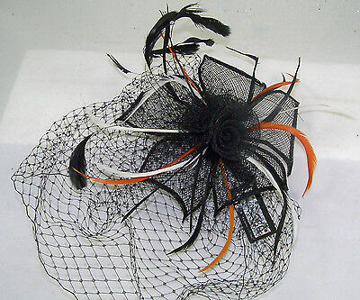 Black Flower Hair comb Hat with netting Halloween Costume Accessory NEW