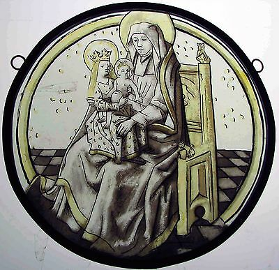 Stained Glass Painted Roundel Saint Anne 16th Century Style Window Panel