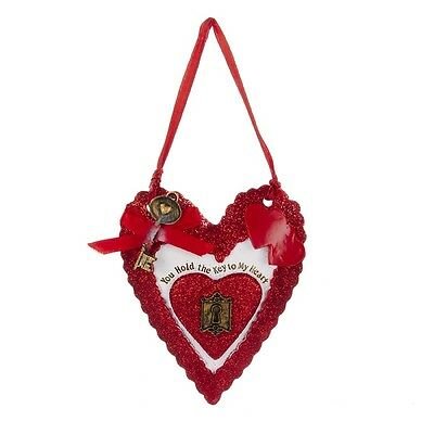 Red Valentine Heart Ornament You Hold The Key To My Heart New with Ribbon