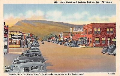 Wyoming postcard Cody, Main Street & Business District, Buffalo Bill's Old Home