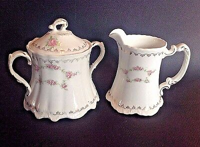 Homer Laughlin Hudson Pattern Sugar Bowl And Cream Pitcher