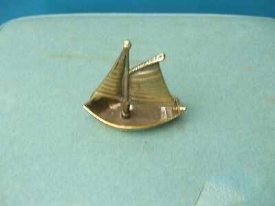 Small Ornamental Brass Trinket Dish In Form Of Yacht