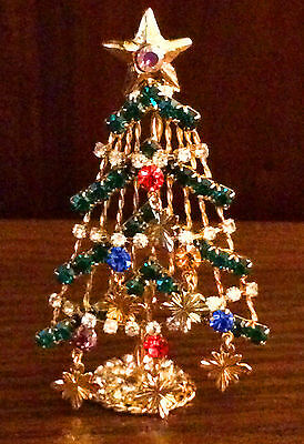 "3"" Free Standing Multicolor Rhinestone Christmas Tree Pin Brooch Gold Tone* Box"