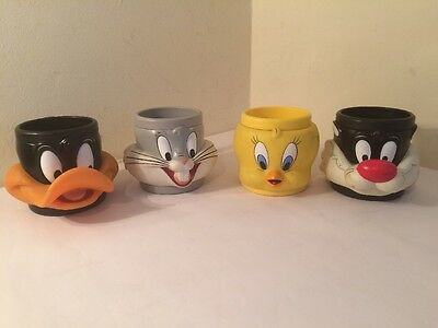 Vintage Warner Bros 3D Mugs Bugs Bunny Daffy Duck Sylvester & Tweety Pie 1992/93