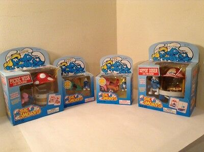 Vintage Smurfs Playsets Including Diecast Vehicles 1996 In Original Packaging