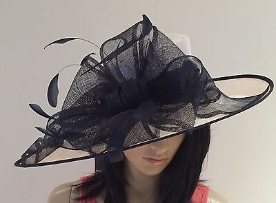 Nigel Rayment White And Navy Wedding Ascot Occasion Hat Mother Of The Bride