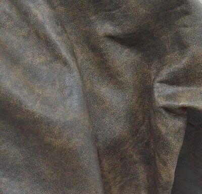 Leather Genuine Lambskin Hide 7.2 Sq Ft Distressed Bomber Style Brown 2-3 oz-f