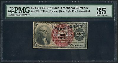 Fr1303 25¢ 4Th Issue Fractional Currency Blue Right End Pmg 35 Choice Vf Bt5655