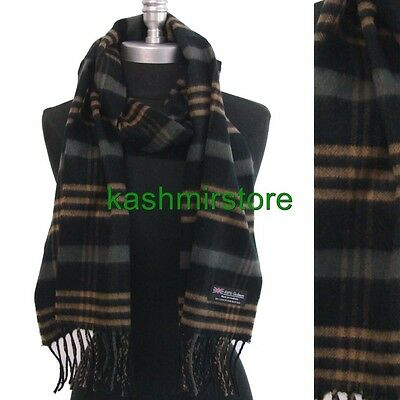 100% CASHMERE SCARF MADE IN SCOTLAND PLAID Check SOFT Black/Camel/gray