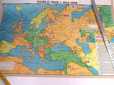 VTG United States Modern School Supply 2 Sided Wall Map WWI 1914-1918 Europe