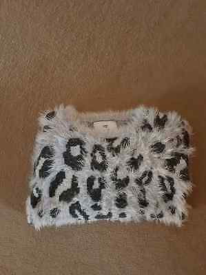 Girls fluffy jumper 9/10yrs grey black