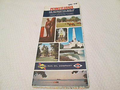 Vintage 1969-1970 SUNOCO DX PENNSYLVANIA Gas Service Station Road Map
