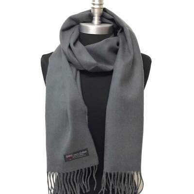 New 100% CASHMERE SCARF SCOTLAND SOLID Charcoal Gray SUPER SOFT Wrap UNISEX