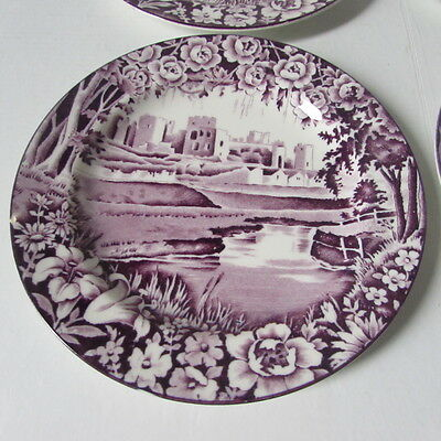"Purple Castles 6"" Bread & Butter Plates Caerphilly Enoch Woods Son"