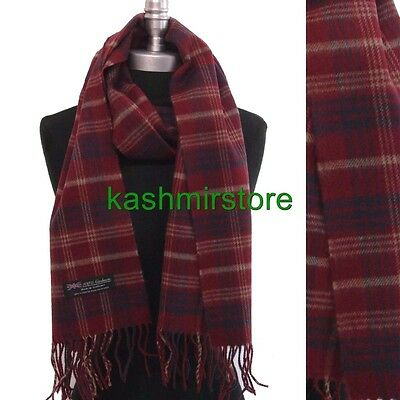 100% CASHMERE SCARF MADE IN SCOTLAND PLAID Check SOFT UNISEX Wine/blue/tan