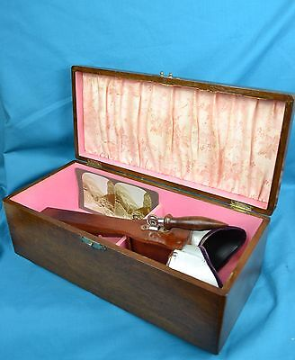 Victorian Holmes Type Stereoview Viewer Stereoscope Specially Designed Oak Box