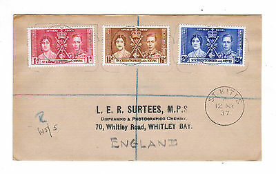 1937 St Christopher Nevis Coronation Cover