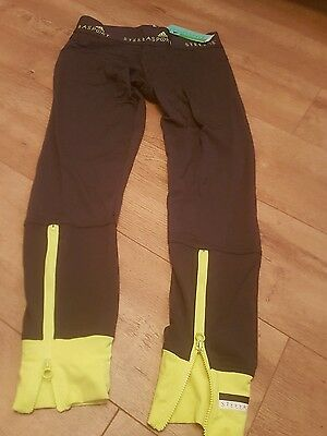 Stella mccartney Gym Leggings Grey neon yellow S Small 8 10 bnwt