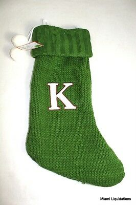 Initial Letter K Monogram Knit Knitted 18 Holiday Stocking Xmas Green Target