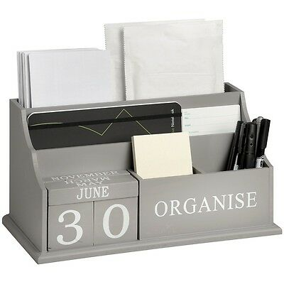 Shabby Chic Wooden Letter Rack Office Desk Tidy Letter Holder Organiser Grey