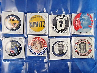 Lot of 8 Pins Pinbacks Buttons MIA Nimitz Paul Revere First Men On The Moon