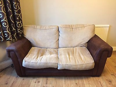 Sprung Sofa Bed Faux Suede & Fabric 2 Seater