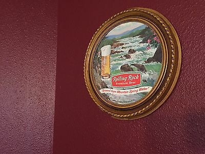 Plastic Rolling Rock Beer Advertising Sign - Brewed From Mountain Spring Water