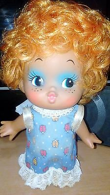 Vintage Rubber Doll Big Eye Doll Cute Afro Red Hair Made in Japan
