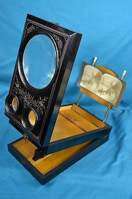 Victorian Folding Ebonised Parcel Gilt Stereoview Viewer Stereoscope Graphoscope