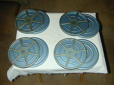 4 Vintage 8mm Movie FILM REELS and 4 CANS - 7""
