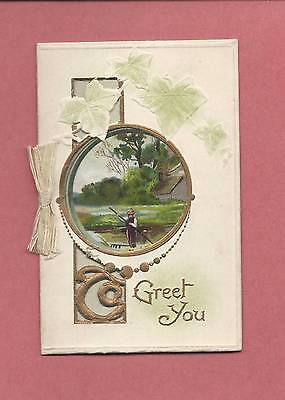 Lovely Authentic Die-Cut Victorian Fold-Out CHRISTMAS Greeting Card