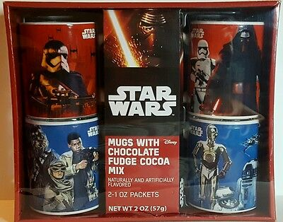 STAR WARS Set of 4 MUGS-CHEWY--C3PO--STORMTROOPER--VILLAIN W/COCOA MIX SEALED PK