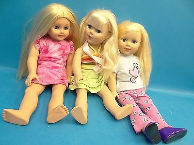 """Mixed Lot of Used Madame Alexander 2009 2004 Blonde 18"""" Girl Dolls"""