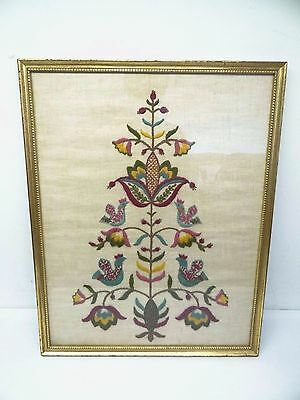 Antique Old Sampler Needlepoint Birds Flowers Fabric Framed Art Artwork
