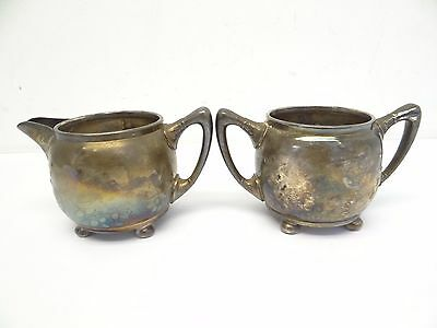Antique Old Set Reed & Barton 3184 Mf'd & Plated Gilt Creamer Sugar Bowl