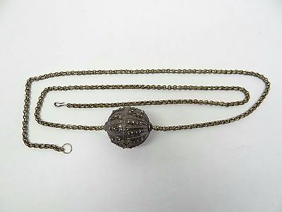 Vintage Used Brass Metal Chain Unusual Ladies Jewelry Round Ball Necklace Old