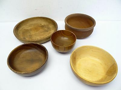 Mixed Lot of 5 Wood Small Serving Salad Decorative Carved Bowls Used Wooden