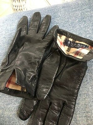 Burberry London Leather And Cashmere Lined Gloves Size 7 1/2