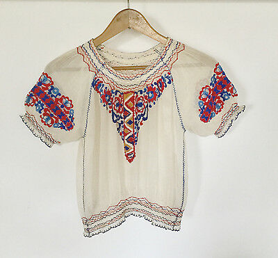 Vintage 1940s Embroidered Hungarian Folk Blouse Top Floral Gauze XS S Peasant