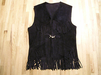Mens Vintage Brown Leather Fringed Vest SKAGGERAC Size 42 Hippy 60s Brass Buckle