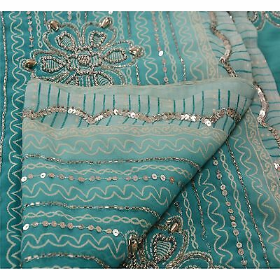 Antique Vintage Saree Georgette Hand Embroidery Painted Fabric Sequins Sari